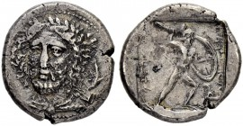 LYCIA. Perikles, 380-360. Stater 380/375, Phellos. Obv. Head of Perikles facing slightly to l., wearing laurel wreath, on right, dolphin downwards. Re...
