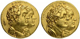 PTOLEMAIC KINGDOM. Ptolemy II, 285-246. Gold octodrachm (Mnaieion) after 265, Alexandria. With Arsinoe II, Ptolemy I, and Berenice I. Obv. ΑΔΕΛΦΩΝ Jug...