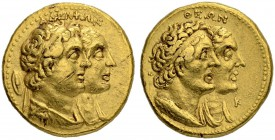 PTOLEMAIC KINGDOM. Ptolemy II, 285-246. Gold tetradrachm (1/2 Mnaieion) 261, Alexandria. With Arsinoe II, Ptolemy and Berenice I. Dated year 10 (261 B...