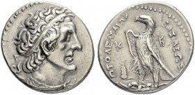 PTOLEMAIC KINGDOM. Ptolemy II, 285-246. Tetradrachm 264/263, Tyros. Obv. Diademed head to r. Rev. ΠToΛEMAIoY - BAΣIΛEΩΣ Eagle standing to l. between m...