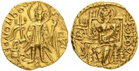 KINGDOM OF THE KUSHAN. Vasu Deva II, 267-300. Gold stater. Obv. Standing king with trident, altar on l. Rev. Goddess Ardosho enthroned facing. 7.84 g....