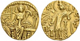 REALM OF THE KIDARITES. Kidara. Gold dinar 4th/5th cent. Obv. Ruler standing to l. with trident. Rev. Goddess Ardosho enthroned facing. 7.76 g. Göbl 6...