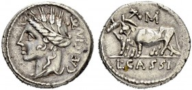 L. Cassius Caecianus. Denarius 102, Rome. Obv. CÆICIAN Head of Ceres to l., wearing wreath of grain ears; •K to upper right. Rev: L CASSI. Two yoked o...