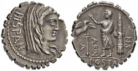 A. Postumius A. f. p. n. Albinus. Denarius (Serratus) 81, Rome. Obv. HISPAN Veiled head of Hispania to r. Rev. A - POST·A·F - S·N - ALBIN Togate figur...