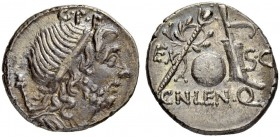 Cn. Lentulus. Denarius 76/75, Spanish mint? Obv. Draped bust of the Genius Populi Romani to r., sceptre over shoulder; above, G·P·R. Rev. Sceptre with...