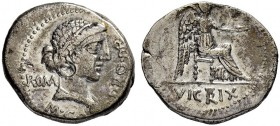 M. Porcius Cato. Denarius 47/46, Rome. Obv. M CATO PRO PR Draped bust of Roma to r., hair tied with fillet. ROMA (MA ligate) on l. Rev. Victory seated...