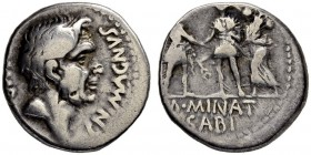 Cnaeus Pompeius Jr. with M. Minatius Sabinus. Denarius 46/45, Spanish mint. Obv. IMP - CN MAGN Bare head of Pompey the Great to r. Rev. Pompeian soldi...