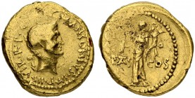 Marcus Antonius. Aureus 41, Mint in Gaul. Obv. M ANTONIVS·IM[P III R·]P·C Bare head of Marcus Antonius r.; behind, lituus. Rev. PIETAS - COS Pietas st...