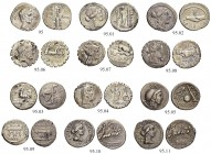 Lot. 13 different denarii. Among others the mint masters Q. Antonius Balbus, C. Annius. C. Marius. C. Poblicius, Cn. Lentulus, L. Roscius Fabatus, M. ...