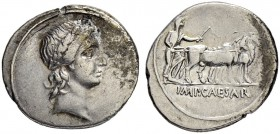 Augustus, 27 BC - 14 AD. Denarius 30/29, Italian mint, perhaps Rome. Minted in the time of Octavian's Actian campaign, before his proclamation to Augu...