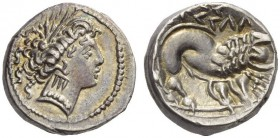 CELTIC, Southern Gaul. Insubres . Later 3rd - first half 2nd century BC. Drachm (Silver, 14mm, 3.19 g 2). Wreathed head of Artemis to right, wearing a...