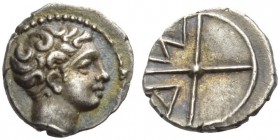 GAUL, Massalia. Circa 380-336 BC. Obol (Silver, 10mm, 0.78 g). Bare head of Apollo to right. Rev. M-A in two quarters of four-spoked wheel. Maurel 333...