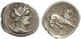 GAUL, Massalia. Circa 150-130 BC. Drachm (Silver, 18mm, 2.69 g 8). Draped and diademed bust of Artemis to right, wearing triple-pendant earring and pe...