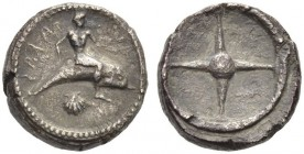 CALABRIA, Tarentum. Circa 480-470 BC. Nomos (Silver, 16mm, 7.81 g). ΤΑRΑϞ ( retrograde ) Phalanthos, nude, riding dolphin to right; below, scallop. Re...