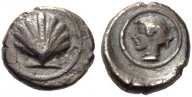 CALABRIA, Tarentum. Circa 470-465 BC. Litra (Silver, 9mm, 0.92 g 9). Scallop shell. Rev. Diademed head of Satyra to left within a linear circle; all w...