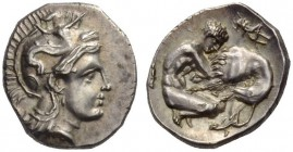 CALABRIA, Tarentum. Circa 325-280 BC. Diobol (Silver, 12mm, 1.31 g 11). Head of Athena to right, wearing Attic helmet adorned with Skylla. Rev. Herakl...