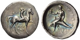 CALABRIA, Tarentum. Circa 280-272 BC. Stater (Silver, 24mm, 7.75 g 6), Sa... and Arethon. ΣΑ - ΑΡΕ / ΘΩΝ. Nude youth riding horse walking to right, ra...