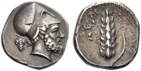 Lucania, Metapontum. Circa 400-340 BC. Didrachm or Nomos (Silver, 20mm, 7.73 g 11). Bearded head of Leukippos to right, wearing Corinthian helmet; beh...