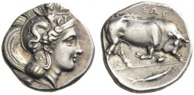 LUCANIA, Thourioi. Circa 350-300 BC. Stater (Silver, 23mm, 7.79 g 2). Head of Athena to right, wearing crested Attic helmet adorned with Skylla hurlin...