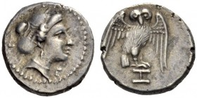 LUCANIA, Velia. Circa 300-280 BC. Diobol (Silver, 10mm, 1.13 g 3). Head of a nymph to right, her hair bound in an elaborate sakkos tied at the top; be...