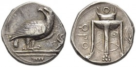 BRUTTIUM, Kroton. Circa 425-350 BC. Stater (Silver, 21mm, 7.99 g 1). Eagle, with folded wings and head turned back to left, standing right on architra...