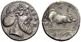SICILY, Abakainon. Circa 420-400 BC. Litra (Silver, 11mm, 0.51 g 12). ΑΒΑΚ Laureate head of Zeus to right, with a full beard and long hair bound into ...