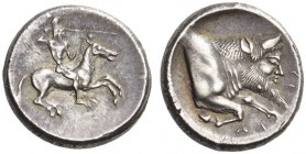 SICILY, Gela. Circa 480/75-475/70 BC. Didrachm (Silver, 19mm, 8.66 g 9). Rider galloping to right, bearded and nude but for high helmet, hurling spear...