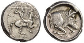 SICILY, Gela. Circa 480/75-475/70 BC. Didrachm (Silver, 18mm, 8.78 g 2). Rider galloping to right, bearded and nude but for high helmet, hurling spear...