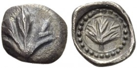 SICILY, Selinos. Circa 515-480/70 BC. Obol (Silver, 9mm, 0.63 g 3). Leaf of wild parsley. Rev. Leaf of wild parsley within a linear circle inside a ci...