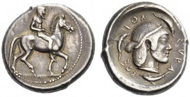 SICILY, Syracuse. Circa 470 BC. Didrachm (Silver, 19mm, 8.64 g 4). Nude and bearded horseman riding to right, leading a spare horse to his left. Rev. ...