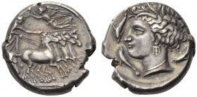 SICILY, RSMLQRT. Circa 340-320 BC. Tetradrachm (Silver, 23mm, 17.12 g 12), Kephaloidion (?), or a mint moving with the Carthaginian army in Sicily. Ch...