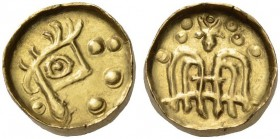 KOLCHIS, The Caucusus Area. 1st century BC/1st - 2nd century AD. Stater (Gold, 15mm, 3.52 g 7). Stylized head with huge eye and crest; around, four pe...