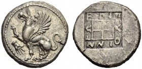THRACE, Abdera. Circa 450-425 BC. Tetradrachm (Silver, 25mm, 14.82 g 1), magistrate Pythinnes. Griffin seated to left, right foreleg raised; to left, ...
