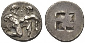 ISLANDS off THRACE, Thasos. Circa 463-449 BC. Stater (Silver, 22mm, 8.69 g). Nude ithyphallic Satyr, with long beard and long hair, moving right in th...