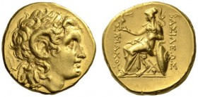 KINGS of THRACE. Lysimachos, 305-281 BC. Stater (Silver, 17mm, 8.47 g 12), uncertain mint, c. 280s-250s. Diademed head of Alexander III to right, ram'...