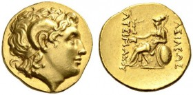 KINGS of THRACE. Lysimachos, 305-281 BC. Stater (Gold, 18mm, 8.52 g 6), Byzantion, c. 250-240. Diademed head of Alexander the Great to right, with hor...