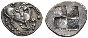 "MACEDON, ""Aigai"" = the Mygdones or the Krestones. Circa 485-470 BC. Trihemiobol (Silver, 11mm, 1.03 g). He-goat moving right, head turned back to left..."