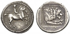 KINGS of MACEDON. Perdikkas II, 451-413 BC. Heavy Tetrobol (Silver, 15mm, 2.36 g 1), 437-431. Rider in Macedonian dress on horse prancing to right, ho...