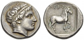 KINGS of MACEDON. Aeropos, 398/7-395/4 BC. Tetradrachm (Silver, 22mm, 10.49 g 10). Young male head to right wearing simple taenia. Rev. ΑΕΡΟ