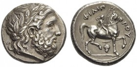 KINGS of MACEDON. Philip II, 359-336 BC. Tetradrachm (Silver, 23mm, 14.32 g 11), Amphipolis, 348/7-343/2. Laureate head of Zeus to right. Rev. ΦΙΛΙ...