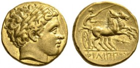 KINGS of MACEDON. Philip II, 359-336 BC. Stater (Gold, 17mm, 8.59 g 11), Pella, circa 340-328. Laureate head of Apollo to right. Rev. ΦΙΛΙ