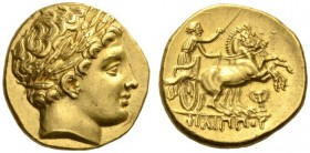 KINGS of MACEDON. Philip II, 359-336 BC. Stater (Gold, 18mm, 8.61 g 6), struck under Philip III, Pella, 323-315. Laureate head of Apollo to right. Rev...