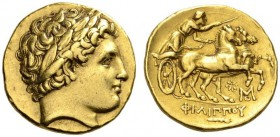 KINGS of MACEDON. Philip II, 359-336 BC. Stater (Gold, 19mm, 8.53 g 6), Abydos, struck under Philip III, 323-317, probably prior to 319. Laureate head...