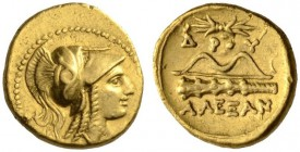 KINGS of MACEDON. Alexander III 'the Great'. 336-323 BC. Quarter stater (Gold, 11mm, 2.16 g 1), 'Amphipolis', uncertain mint in Macedonia, c. 330-320 ...