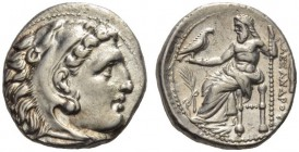 KINGS of MACEDON. Alexander III 'the Great', 336-323 BC. Drachm (Silver, 16mm, 4.27 g 12), Teos, struck under Philip III, 323-319. Head of Herakles to...
