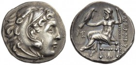 KINGS of MACEDON. Alexander III 'the Great', 336-323 BC. Drachm (Silver, 17mm, 4.29 g 12), Abydos, c. 310-301. Head of Herakles in lion skin headdress...
