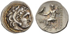 KINGS of MACEDON. Alexander III 'the Great', 336-323 BC. Drachm (Silver, 18mm, 4.28 g 12), Lampsakos, c. 310-301. Head of Herakles in lion skin headdr...