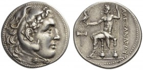 KINGS of MACEDON. Alexander III 'the Great', 336-323 BC. Tetradrachm (Silver, 29mm, 17.08 g 12), Mylasa (or Kaunos?), c. 250. Head of Herakles in lion...
