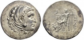 KINGS of MACEDON. Alexander III 'the Great', 336-323 BC. Tetradrachm (Silver, 32mm, 16.82 g 1), Temnos, circa 188-170. Head of Herakles in lion skin h...