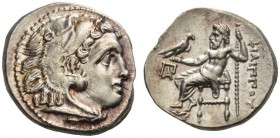 KINGS of MACEDON. Philip III Arrhidaios, 323-317 BC. Drachm (Silver, 16mm, 4.24 g 11), Kolophon. Head of Herakles to right in lionskin headdress. Rev....